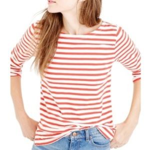 J Crew Striped Boatneck Tee, sz XS, red and white